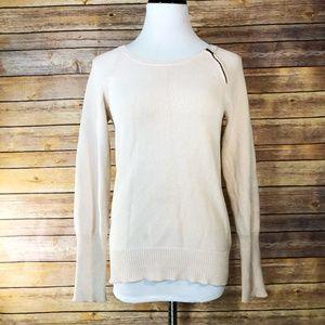 J. Crew Factory Cream Zip Crewneck Sweater